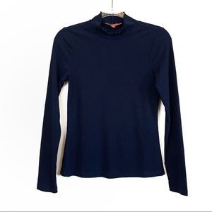 ModCloth Blue Ribbed Ruffle Admired Archivist Top